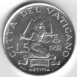Mynt > 5lire, 1959-1962 - Vatikanstaten  - reverse