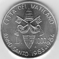 """Moneta > 1000lirów, 1983 - Watykan  (Trzykątny herb. """"Święty Rok"""") - obverse"""