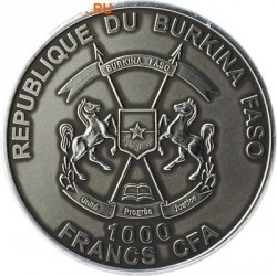 Монета > 1000франков, 2015 - Буркина Фасо  (Мамонт) - reverse