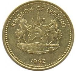 Moneda > 1sente, 1992 - Lesoto  (Acero chapado en latón /magnética/) - obverse
