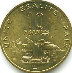 Монета > 10франков, 1977-2017 - Джибути  - reverse