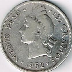 Coin > ½peso, 1937-1961 - Dominican Republic  - obverse