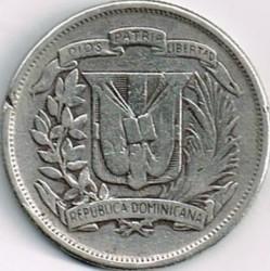 Coin > ½peso, 1937-1961 - Dominican Republic  - reverse