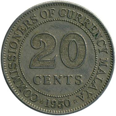 20 Cent 1948 1950 Malaya Münzen Wert Ucoinnet