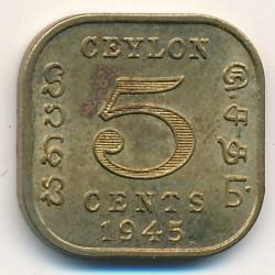 Moneta > 5centesimi, 1944-1945 - Ceylon  - reverse