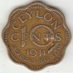 Coin > 10cents, 1944 - Ceylon  - reverse