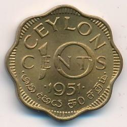 Coin > 10cents, 1951 - Ceylon  - reverse