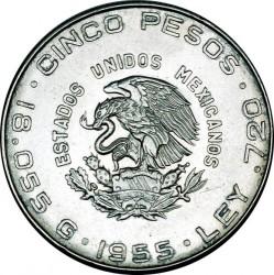Moneta > 5pesos, 1955-1957 - Messico  - obverse