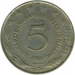 Moneda > 5dinares, 1981 - Yugoslavia  - reverse
