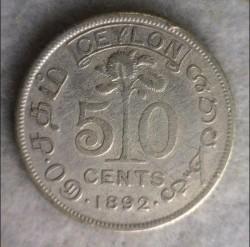 Монета > 50центов, 1892-1900 - Цейлон  - reverse