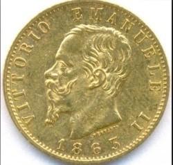 Moneta > 20lirų, 1861-1878 - Italija  - obverse