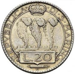 Moneta > 20lirų, 1937-1938 - San Marinas  - obverse