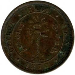 Монета > ½цента, 1870-1901 - Цейлон  - reverse