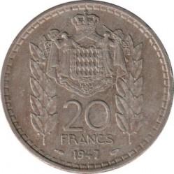 Кованица > 20франака, 1947 - Монако  - reverse