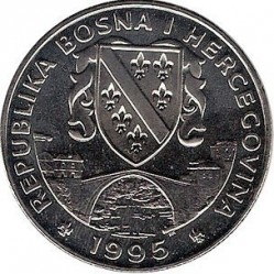 מטבע > 500דינר, 1995 - בוסניה והרצגובינה  (1995 European Youth Summer Olympic Days, Rings) - reverse