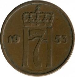 Moneda > 5öre, 1952-1957 - Noruega  - obverse