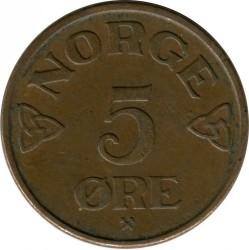 Moneda > 5öre, 1952-1957 - Noruega  - reverse