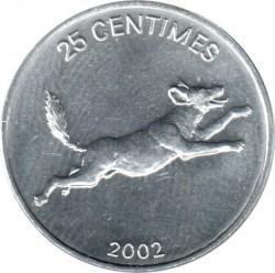 Մետաղադրամ > 25սամտիմ, 2002 -  Կոնգոյի Դեմոկրատական Հանրապետություն  (Animal - African wild dog) - reverse