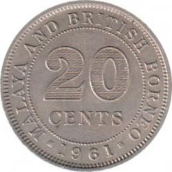 Монета > 20центов, 1954-1961 - Малайя и Британское Борнео  - reverse