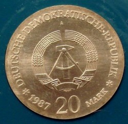 Moneda > 20marcos, 1987 - Alemania - RDA  (750th Anniversary of Berlin) - obverse