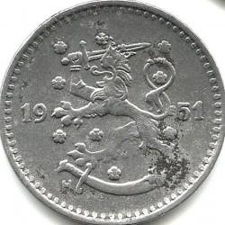 Münze > 1Mark, 1951 - Finnland  (Iron /grey color/) - obverse