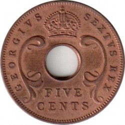 Coin > 5 cents, 1949-1952 - British East Africa  - obverse