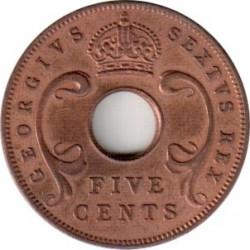 錢幣 > 5分, 1949-1952 - 英屬東非  - obverse