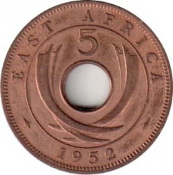 Coin > 5 cents, 1949-1952 - British East Africa  - reverse