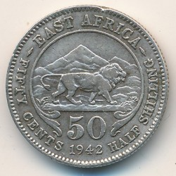 Coin > 50cents, 1937-1944 - British East Africa  - reverse