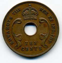Coin > 10 cents, 1936 - British East Africa  (Edward VIII) - obverse