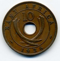Coin > 10 cents, 1936 - British East Africa  (Edward VIII) - reverse