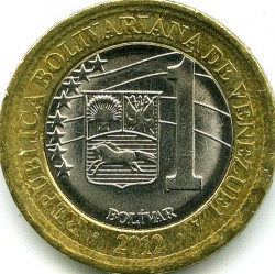 Moneta > 1bolivaras, 2012 - Venesuela  - obverse