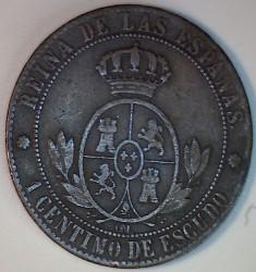 錢幣 > 1分, 1865-1868 - 西班牙  - reverse