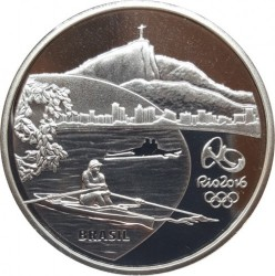 Moneta > 5reali, 2015 - Brazylia  (XXXI  Letnie Igrzyska Olimpijskie, Rio de Janeiro 2016 - Wioślarstwo i orchidea) - reverse