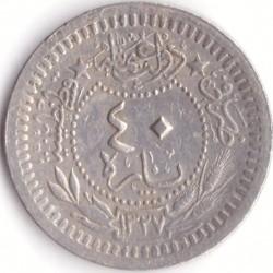"""錢幣 > 40帕拉, 1909 - 鄂圖曼帝國  (""""el-Ghazi"""" right of Toughra) - reverse"""