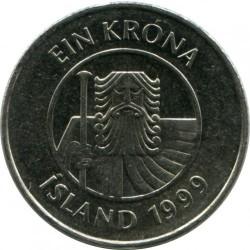 Monēta > 1krona, 1989-2011 - Islande  - obverse