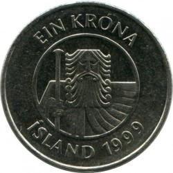 Minca > 1krona, 1989-2011 - Island  - reverse