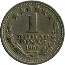 Moneda > 1dinar, 1968 - Yugoslavia  - obverse