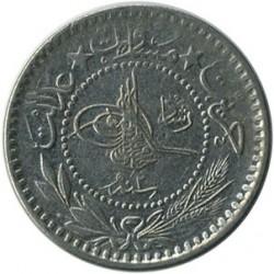 """Moneda > 10para, 1909 - Imperi Otomà  (""""Reshat"""" a la dreta de la figura del Tughra) - obverse"""