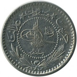 "Monēta > 10 paru, 1909 - Osmaņu impērija  (""Reshat"" right of Toughra) - reverse"