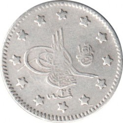 Munt > 1 kurus, 1876 - Ottomaanse Rijk  (Ligature at the top right of Tugra) - obverse