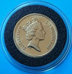 Moneta > 1sterlina, 1989 - Gibilterra  (150° anniversario - Valuta di Gibilterra) - obverse