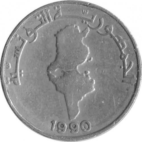 ½ Dinar 1988 1990 Tunesien Münzen Wert Ucoinnet