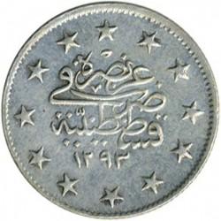 Munt > 2kurus, 1876 - Ottomaanse Rijk  (Ligature at the top right of Tugra) - reverse