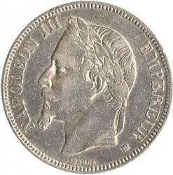 Moneta > 5franchi, 1861-1870 - Francia  - obverse