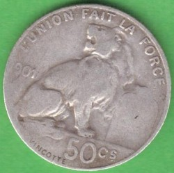 Coin > 50centimes, 1901 - Belgium  (Legend in French - 'DES BELGES') - reverse