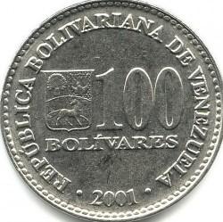 Coin > 100bolívares, 2001-2004 - Venezuela  - reverse