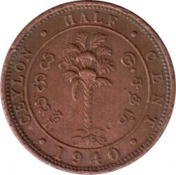 Coin > ½cent, 1937-1940 - Ceylon  - reverse