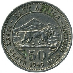 Coin > 50 cents, 1948-1952 - British East Africa  - reverse