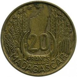Кованица > 20франака, 1953 - Мадагаскар  - reverse